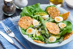 Asparagus Salad with quails eggs and cheese crisps. Asparagus Salad with quails eggs, avocado and cheese crisps, healthy detox lunch Royalty Free Stock Images