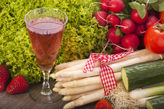 Asparagus, salad and wine Royalty Free Stock Image