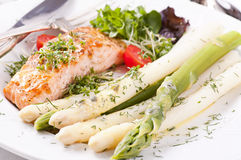 Asparagus with Salmon Royalty Free Stock Image
