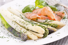 Asparagus with salmon Stock Photography