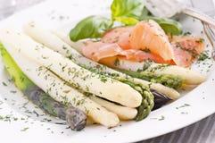 Asparagus with salmon Stock Photography