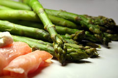Asparagus and salmon. Smoked salmon and green asparagus - very light and healthy meal stock image