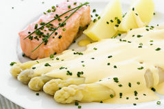 Asparagus with Salmon Stock Image