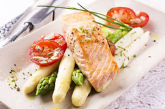 Asparagus with Salmon royalty free stock photos