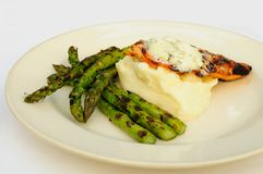 Asparagus, salmon, mashed potatoes Royalty Free Stock Photo