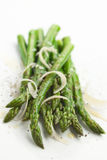 Asparagus with shaved cheese Stock Photos