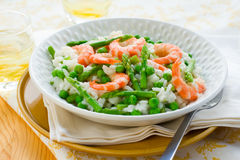 Asparagus shrimp risotto Royalty Free Stock Photography