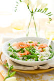 Asparagus shrimp risotto Stock Photos