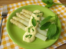 Asparagus with sorrel hollandaise sauce Stock Image