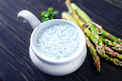 Asparagus. Soup in the bowl Stock Photos