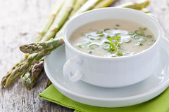 Asparagus soup. Fresh asparagus soup in a bowl Royalty Free Stock Photo