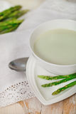 Asparagus soup in a soup bowl Royalty Free Stock Photo