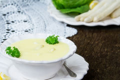 Asparagus soup and white asparagus Royalty Free Stock Photography