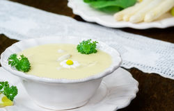 Asparagus soup and white asparagus Royalty Free Stock Images