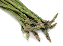 Asparagus Spears. Fresh green asparagus spears on a white background Stock Photos