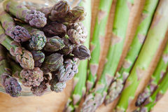 Asparagus spears. A bunch of asparagi seen from above. Closeup on the spears royalty free stock photography