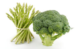 Asparagus sprouts and broccoli floret Stock Images