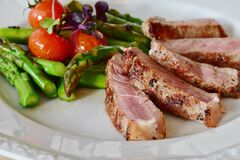 Asparagus, Steak, Veal Steak, Veal Stock Photo
