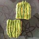 Asparagus toasts. Nice food picture Royalty Free Stock Photography