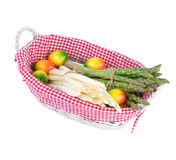 Asparagus Vegetable in a Basket Stock Images