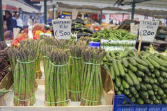 Asparagus at vegetable market Stock Photos