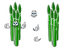 Asparagus vegetable spears cartoon character Royalty Free Stock Image