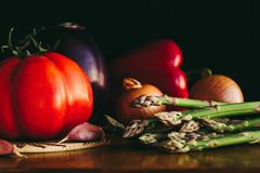 Asparagus and vegetables royalty free stock images