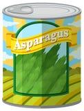 Asparagus w aluminiowej puszce Fotografia Stock