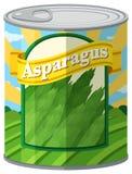 Asparagus w aluminiowej puszce Obrazy Royalty Free