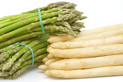 Asparagus white and green bunched. Fresh asparagus white and green bunched royalty free stock photo