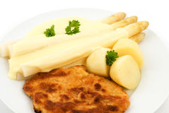 Asparagus With Cutlet Stock Photography