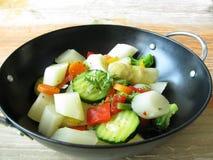 Asparagus from wok Stock Photos
