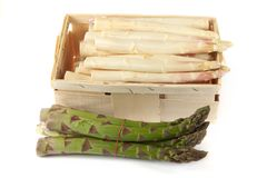 Asparagus in wooden box Stock Photo