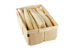 Asparagus in wooden box including clipping path Stock Photo