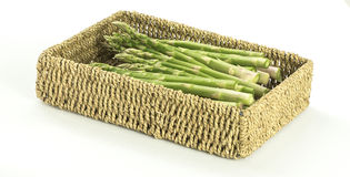 Asparagus in Woven Basket Royalty Free Stock Photo