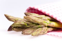 Asparagus wrapped  with table cloth Royalty Free Stock Photo