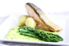 Asparagus z ryba i kumberlandem zdjęcia royalty free