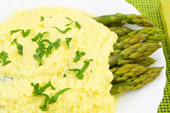 Asparagus with zabaglione sauce Royalty Free Stock Images