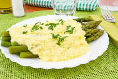 Asparagus with zabaglione sauce Royalty Free Stock Photo