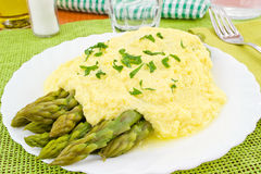 Asparagus with zabaglione sauce Stock Image