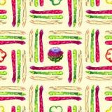 Asparagus zieleń, czerwone flance, plasterki pieprze i karczoch, purpur i bielu, Fotografia Royalty Free
