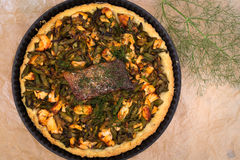Asparagus Zucchini Salmon Quiche With Homemade Shortcrust Pastry Royalty Free Stock Photography