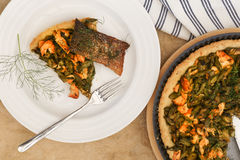 Asparagus Zucchini Salmon Quiche With Homemade Shortcrust Pastry Royalty Free Stock Photo
