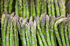 Asparaguses. Macro view of asparaguses in market Royalty Free Stock Image