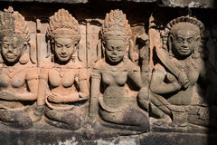 Asparas and devatas, stone carving of Angkor wat Stock Image