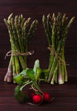 Aspargo e rabanetes verdes Fotografia de Stock Royalty Free
