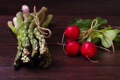 Aspargo e rabanetes verdes Imagens de Stock