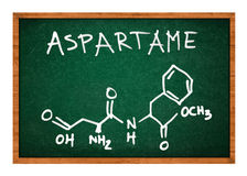 Aspartame chemical formula on school chalkboard Royalty Free Stock Images