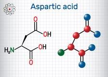 Aspartic syrligt l aspartic syra, egyptisk huggorm, D, proteinogenic aminosyramolekyl för aspartate Ark av papper i en bur strukt royaltyfri illustrationer