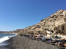 Aspect of Black Beach in Santorini Royalty Free Stock Image